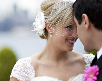 Bridal Fascinator Veil Set, Flower Wedding Fascinator, Feather Hair Clip, Bridal Headpiece, Birdcage Veil, Wedding Veil, RACHEL VANDA