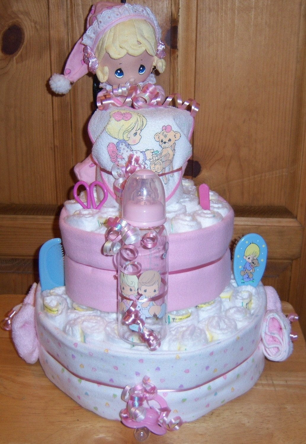 baby shower precious moments 3 tier diaper cake by babydiapercakes