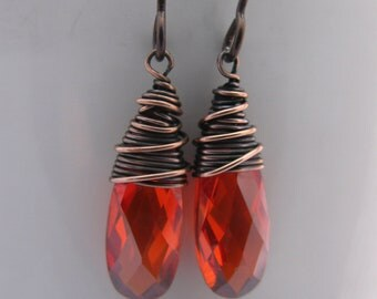 Wire Wrapped Red Cubic Zirconia Earrings