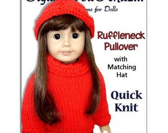 pdf 18 inch doll knitting pattern. Fits American Girl Doll. AG Clothes, Instant Download 004