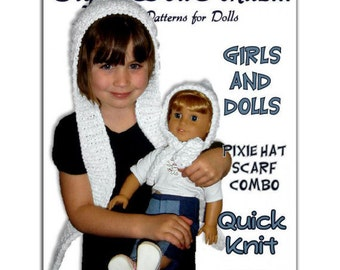 Knitting pattern. Matching Girl and Doll Pixie Hat Scarf Combo. American Girl, PDF