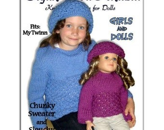 Knitting Patterns, matching girls 4-10, and dolls, My Twinn, 23 inch, My Bff  Instant Download
