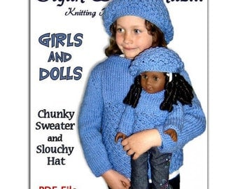 "PDF Knitting Patterns, matching girls 4-10, and dolls sweaters, fits American Girl, 18"" inch, Instant Download"