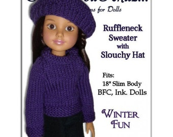 Knitting Pattern. Fits BFC, Ink  Doll. Sweater and Slouchy Hat  PDF Instant Download 704