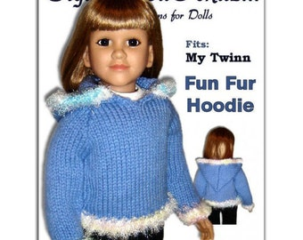 Hoodie Knitting Pattern fits My Twinn (My BFF), 23 inch dolls. PDF, 647