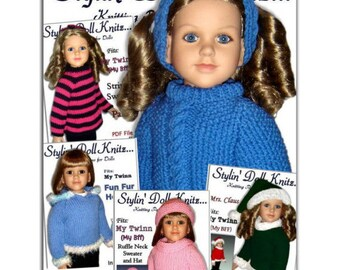 Knitting Patterns, Fit My Twinn Doll (My BFF), Doll sweaters, 23 inch. Instant Download