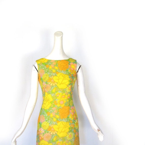 RESERVED Vintage 60s Dress / 1960s Dress / Floral Chiffon Dress / XS RESERVED