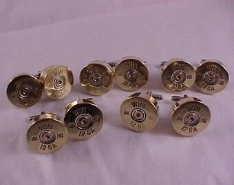 5 Pair Bullet Cuff Links Winchester 12 Gauge Shotgun Shell Wedding Groomsmen Set Christmas Gift Set