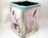 Crow Utensil Holder - Rustic Handmade Pottery - Large Square Stoneware Raven Pot - Studio Art Vase - Ceramic Planter Pot