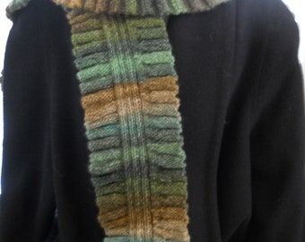 Reduced RUFFLED VARIGATED Olive Greens Browns Tans New Handknit SCARF for the Fashionable Girl
