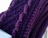 Contrast crochet scarf, purples or browns