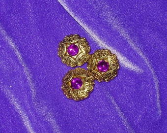 "3 Acrylic Buttons, Round Gold Filligre Type Setting with Fuchsia Crystal Bead Center 7/8"" diameter Lightweight Pink Purple"