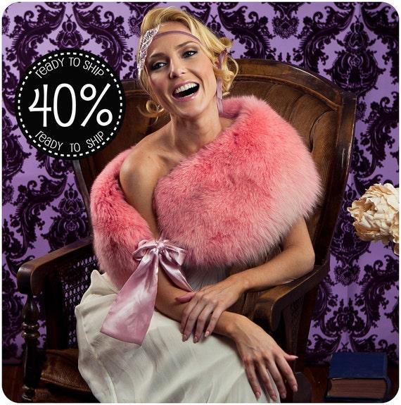 40% Off Cotton Candy Pink FOX Fur Stole, Winter Wedding Bridal Shawl, Wrap, Fur Boa