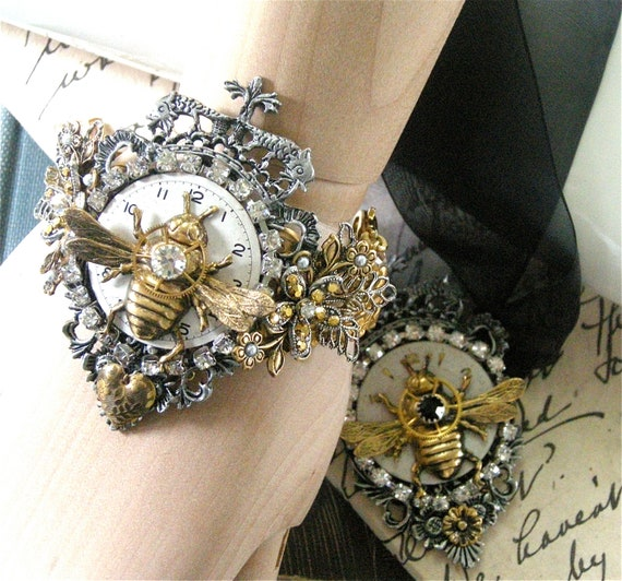 Steampunk Bracelet for a Queen Bee, Free Shipping USA