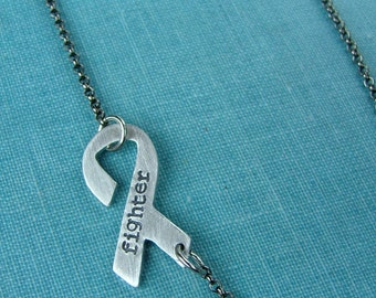 I Am A Fighter Custom Hand Stamped Aluminum Survivor Ribbon Necklace  by MyBella