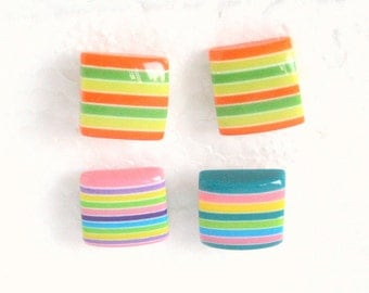 Striped Earrings Lot Vintage Pierced Square Stud TWO Pair Bright Orange Green Yellow Blue Pink
