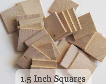 Unfinished Wooden Squares 1.5 inch, Pack of 100