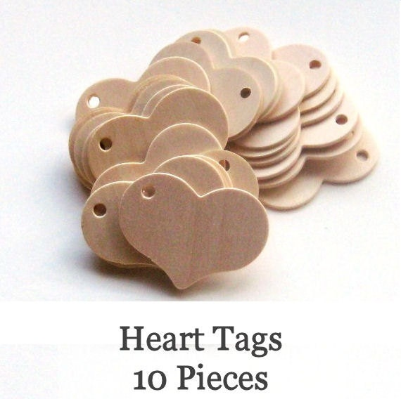 Unfinished Wooden Heart Tags - 2.25 inch x 1.75 inch - pack of 10