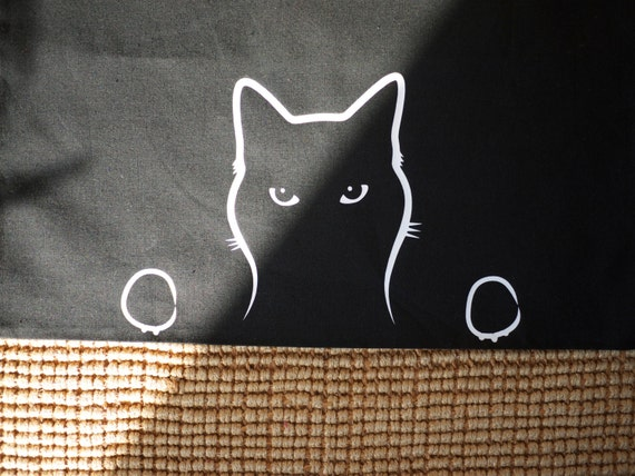 Cat Shopping Bag, Peeping Tom Cat Cotton Bag