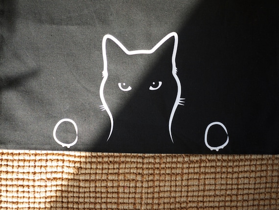 Cat Shopping Bag, Peeping Tom Cat Cotton Bag