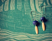 Sterling Earwires and Vintage Navy Striped and Peach Beads - Sea Voyage Earrings