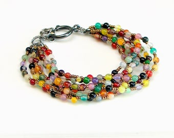 Colorful Beaded Multistrand Bracelet, Bright Stones and Metallic Glass Beads, Tapestry Bracelet with Large Clasp, Bold Statement Bracelet