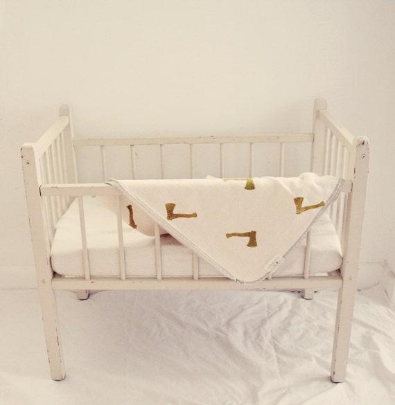 Organic Hemp Baby Blanket // olive and cream // hand stamped // Wood Chopper // Swaddle Blanket // Stroller Blanket // Lovey // Crib blanket