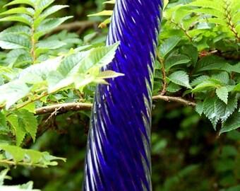 Hand blown Glass Icicle - Cobalt - Glass Garden Art