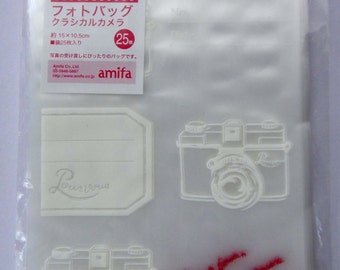 Cute Vintage Cameras Japanese Cellophane Plastic Photograph Sleeves / Protective Covers / Photo Gift Packaging