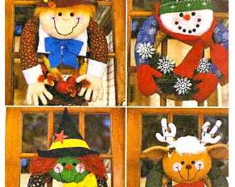 HALLOWEEN WREATH Sewing Pattern - Christmas Snowman Reindeer Pilgrim Witch Seasonal Wreaths REDUCED