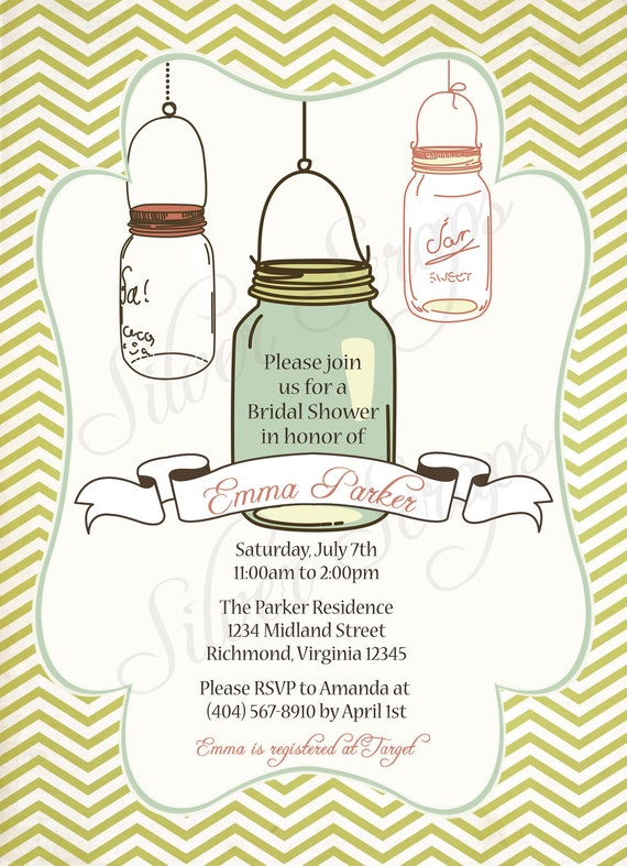 Vintage Mason Jar -Custom Bridal, Baby Shower, or Bridesmaid's Luncheon Invitation -Girl, Boy, Pink, Teal, Aqua, Green - 5 Printable Designs