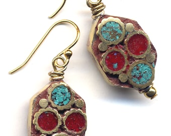 Tibet Coral and Turquoise  Earrings, Nepal Beads on 18 K Gold Filled Wire, Tibetan Earrings, Ethnic Earrings, Handmade Jewelry by AnnaArt72