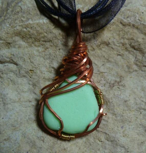 Framed Green Milk Glass / Jadeite Necklace