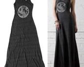 Womens Maxi Dress, Moon Maxi Dress, Womens clothing, long black dress, Full Moon Print, Astronomy Print, Bohemian Dress, Boho Chic Clothing