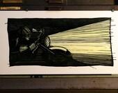 Night Rider - Linocut Reduction Print