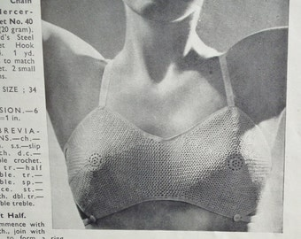 Needlewoman and Needlecraft 1947 - Vintage 1940s Sewing / Knitting / Crochet Magazine 40s original patterns crochet brassiere lingerie toy