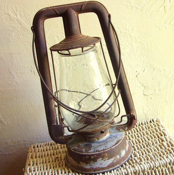 Rusty Antique Steel Lantern Complete with Glass Globe Rustic Home Decor - SALE Priced