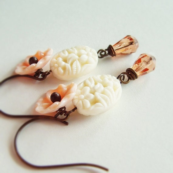 Ivory Peach Floral Dangle Earrings White Floral Dangles Vintage Carved Flower Earrings Peach Cream Spring Wedding Bridal Pastel Jewelry