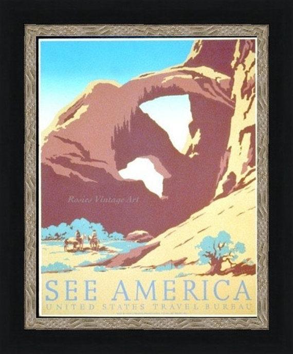 See America -  Arch Rock Utah 1930s WPA Public Service Poster - Giclee Art Print