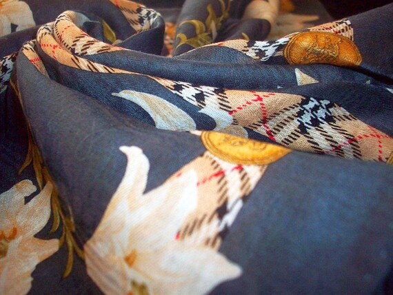 "Pure Cotton Vintage Handkerchief Scarf  - Burberrys -  Dark Grey - Smoke - 19-1/2"" x 19-1/2""  50x50 cm"