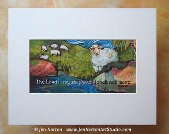 Psalm 23 Painted Sheep Biblical Wall Art Print, 11 x 14 matting