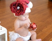 Christmas Red Knit Santa Hat with Red Peony Flower with Bling Center Free Shippimg On All Additional Items