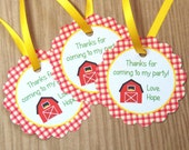 Farm Birthday Party - Set of 12 Custom Personalized Favor Tags by The Birthday House