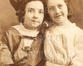 Best Friends, Two Girls, Bow in Hair - Vintage Photo Digital Download