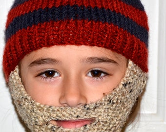 Bearded Beanie, Bearded Hat, Bearded Cap, Beard Beanie, Knitted Beard Hat, Kids-All Sizes, All Colors