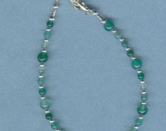 Green Agate Adjustable Gemstone Anklet