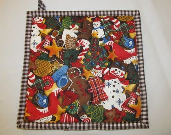 Clearance  SALE Christmas Cookies Insulbrite Potholder:   Gingerbread man, Candy Cane, Ready to Ship, Hostess Gift, Quilted