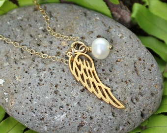 Beloved necklace - 22k gold plated Angel wing charm and freshwater pearl, delicate 14k gold filled chain - free shipping in USA