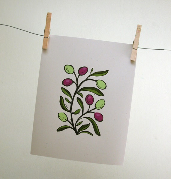 Olive Branch Block Print with hand painted details