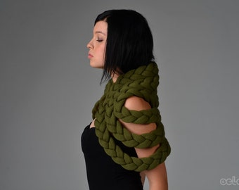 Braided Shrug in Military Green